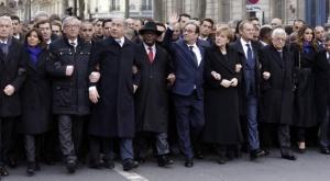 Alcuni dei capi di stato che marciano a Parigi, nel gennaio 2015