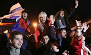 Festeggiamenti in Crimea dopo il referendum. Marzo 2104