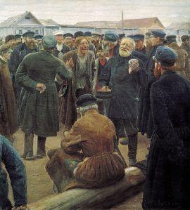 Un'assemblea di contadini vista dal pittore Sergej Korovin